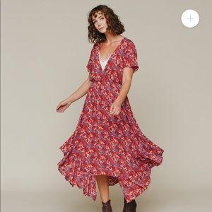 SALE🔥 Anthro Lookalike Red V-Neck Long Dress